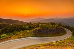 DOI INTHANON SUNRISE (::: a j z p h o t o g r a p h y :::) Tags: doiinthanon mountain travel traveldestination thailand chiangmai scenery scenic sky sunrise sunlight curved road roadside fog morning