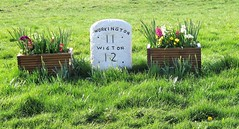 Milestone in Allonby, Cumbria, England. (tosh123) Tags: milestone cumbria workington wigton allonby village coast travel flowers outdoor solwayfirth