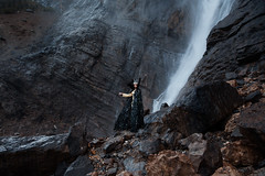 Ravenna (Lichon photography) Tags: ravenna cosplay canada banff takakkaw lichonphotography cosplayer canadian waterfall enchanted surreal surrealism awesome women stone elven woman queen crown