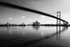 Vincent Thomas Bridge in the morning (rikioscamera) Tags: losangelesharbor bw blackandwhite bridge d750 harbor lightroom monochrome morninglight nikon silverefexpro water vincentthomasbride catalinaexpress
