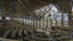 Holyrood At The Weekend (devil=inside) Tags: architecture handphotography sony a77 holyrood parliament scotland edinburgh indoors structure seats roof lights support beams