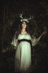 Her deer heart (Marty085) Tags: deer fertility maternity forest love pregnant model naturallight nature portrait artistic creative petzval lomography