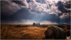 Rays of Hope (Moe Ali Photography) Tags: barn old calgary alberta field rays clouds light hay outdoor outside country farm abandoned isolated lonely alone landscape canon7dmarkii canon1018mmstm 18mm widelens moealiphotography rain