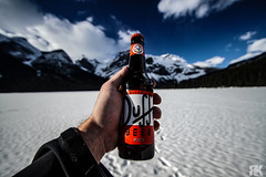 Duff beer for me. Duff Beer for you. (ryan.kole32) Tags: emeraldlake lake britishcolumbia bc canada yoho yohonationalpark winter ice snow bluesky clouds depthoffield perspective landscape nature beauty beautyinnature trees forest sony sonya77 teamsony travel outdoors hiking proppropspropphotography peaceful calm tranquil funny humour