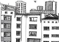 Blick ich aus dem Fenster... (connykunze) Tags: sketchbook urbansketching lines drawing building urban city windows