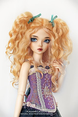 Funny curls (Kimirra) Tags: bjd abjd kagamidesign angorawig alpaca minifee minifeechloe fairyland commission wig colorfulhair colorfulwig