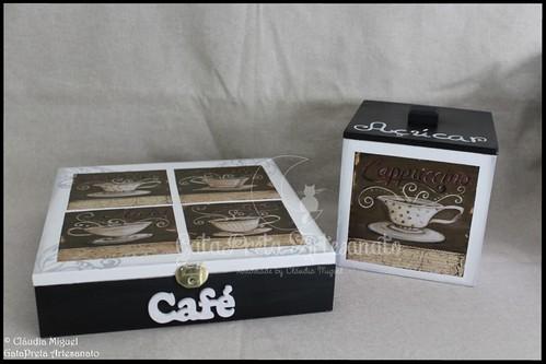 """Caixa para cápsulas de café Delta Q e caixa de açúcar """"Black Coffee II"""""""