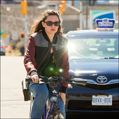 Bicycle Flair on Bank Street April 14 2017 (Dan Dewan) Tags: dandewan bicycle canon7dmarkii street reflection canon light canonef7020014lusm cyclist 2017 woman sunday bankstreet portrait eyes ottawa ontario girl glasses sunglasses lady april