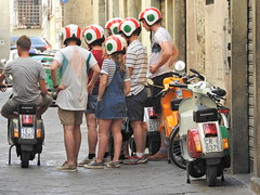Easy riders, uniquely the same (Couldn't Call It Unexpected) Tags: piaggio motor scooter lesson italy riding