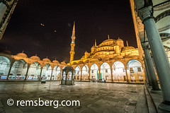 The courtyard of the Sultan Ahmed, or Blue Mosque, located in Sultanahmet square in Istanbul, Turkey. (Remsberg Photos) Tags: istanbul turkey square night light litup architecture structure column archway arcade empty historic