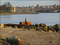 Contemplation (HereInVancouver) Tags: vancouver bc canada beach water ocean pacific englishbay youngwoman contemplation logs rocks candid streetphotography canong3x thingstodobythewater vancouverswestend