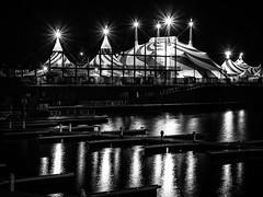 Cirque du Soleil (Duric) Tags: noiretblanc blackandwhite bw blancoynegro cirque circus tent montreal eau fleuve vieuxmontréal reflet nuit
