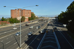 Tollway to Harbour Bridge North Sydney NSW - late afternoon Autumn 2017 (4000) (nicephotog) Tags: highway freeway tollway traffic cars vehicles trucks multilane road north sydney nsw milsons point city building structure ramp exit sign digital