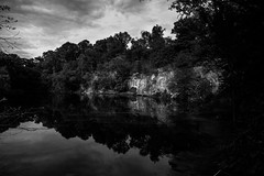Quarry (noephoto) Tags: blackandwhite bw reflection pond richmond mirrored quarry richmondva belleisle rva quarrypond