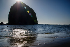 Rock Star, Cannon Beach OR (tacoma290) Tags: ocean sun silhouette oregon sand nikon waves rockstar line pacificocean pacificnorthwest oregoncoast pnw basalt resilience catchlight rockstarcannonbeachor