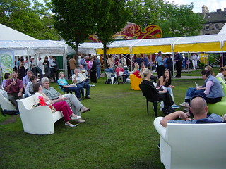Relaxing in the gardens at the 2002 Edinburgh International Book Festival