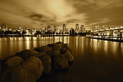 Vancouver at night (Juan Rostworowski) Tags: ocean city longexposure bridge light sky reflection art beautiful skyline sepia vancouver buildings reflections photography lights photo nikon rocks downtown cityscape foto view bridges citylights nikkor legacy westend burrardbridge photographyforrecreationeliteclub photographyforrecreationclassic