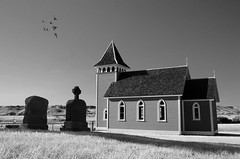 Saskatchewan Church (Harry2010) Tags: canada bird church grass architecture blackwhite cemetary saskatchewan grassland prairies