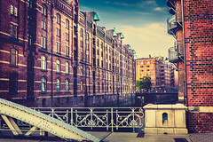 Hamburg-Speicherstadt (Mokomima) Tags: city travel bridge blue holiday color building architecture contrast photoshop canon germany photography europe hamburg fluss elbe lightroom postprocessing 1750mm 450d