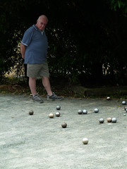 Listening to the Click Clack of Boules (Steve Taylor (Photography)) Tags: park newzealand christchurch man metal silver gold grey watching bald balls canterbury trainers listening nz southisland click shorts quarry petanque boules gravel clack halswell barelegs