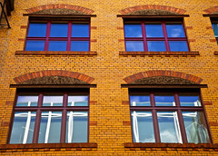 (THE EAGLE EYE) Tags: blue windows red berlin yellow reflexions