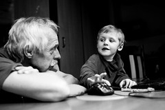 internet for senior (I.Dostál) Tags: boy blackandwhite senior children blackwhite child grandfather it teaching vystava blackandwhiteonly