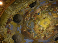 Apotheosis of Emperor Charles VI fresco in the cupola (Sparky the Neon Cat) Tags: vienna wien 6 painting austria hall europe state library charles palace ceiling national cupola karl baroque osterreich fresco emperor hofburg heldenplatz nationalbibliothek prunksaal apotheosis