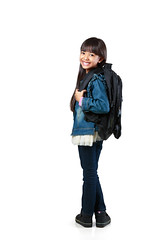 Portrait of a schoolgirl, Isolated over white (Patrick Foto ;)) Tags: school portrait people white cute girl beautiful beauty childhood smiling kids female youth standing bag studio children asian fun thailand happy back kid student holding education funny uniform pretty child little expression background side joy young adorable happiness going full study thai backpack concept cheerful schoolgirl length learn isolated elementary