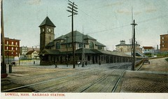 Lowell, Mass. Middlesex Street station (bmrrhs) Tags: railroad clock station bm granite depot railroadstation bostonmaine bostonandmaine granitebuilding {vision}:{mountain}=054 {vision}:{car}=0521 {vision}:{outdoor}=0968