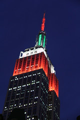 Picture Of Empire State Building Lit Up In Honor Of The Athletes Competing In The 2014 Winter Olympics In Sochi Russia By Displaying Rotation Of Countries Flag Colors. Photo Taken Friday February 7, 2014 (ses7) Tags: building state empire