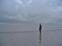 Another place blurred (Fif') Tags: uk sea england sky cloud art beach statue clouds liverpool europe skies unitedkingdom britain north pluie lancashire angleterre british northern nuage nuages plage mersey nord gormley crosby ciels merseyside britannique anotherplace scouse 2013