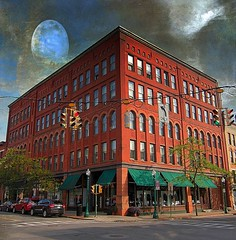Hogan Block  1895 ~ Syracuse NY ~ Texture (Onasill ~ OFF/FAMILY) Tags: travel red usa moon ny building brick texture retail architecture restaurant us tour state thomas district style charles luna historic warehouse business architect colton syracuse historical block register armory hogan romanesque renaissance reuse adaptive new york county contributing nrhp onasill onondaga vision:outdoor=0904