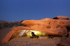 Cozy Little Cave in Valley of Fire (Jeffrey Sullivan) Tags: park travel las vegas light portrait copyright usa southwest valleyoffire jeff nature rock night canon painting landscape outdoors fire photography all photographer desert state photos united nevada lifestyle roadtrip visit adventure formation nv explore rights valley april cave states sullivan dslr reserved active 2012 nomadic dontfencemein nevadatravel 5dmarkii travelnevada