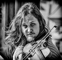 Fiddler on the Bridge (Andy J Newman) Tags: czech portrait charles violin bridge street musician blackandwhite man silverefex monochrome d500 nikon eyes czechrepublic fiddle busker prague charlesbridge candid hair czechia cz