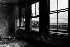the.rain.in.my.heart (jonathancastellino) Tags: architecture abandoned derelict decay office offices window train station ny usa america buffalo leica q room ruin ruins distance through glass platform platforms paint peel view