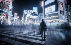 Shibuya Crossing (ScottSimPhotography) Tags: shibuya tokyo crossing japan city night lights downtown scifi sciencefiction bladerunner neo cityscape japanese electric asia asian nightscape blur blurred street