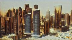 Good Morning Doha (Swissrock-II) Tags: doha katar qatar skyline skyscraper photoshop photoart april 2017 mobile samsung city urban