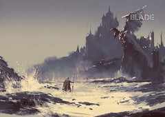 illustration painting of king walking through sea beach next to fantasy castle in background (shadowbilgisayar) Tags: abstract acrylic art artistic background beautiful beauty canvas color concept cover design illustration oil painting paper shapes style texture vivid wallpaper watercolor artwork castle fantasy fairytale old mythology tower landscape palace architecture house building ancient traditional medieval sky dark sea beach walking wave statue stone knight king empire coast scenery thailand