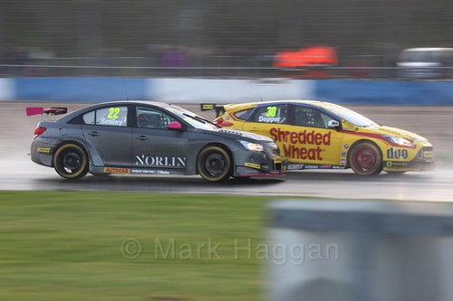 Chris Smiley and Martin Depper in race three at the British Touring Car Championship 2017 at Donington Park