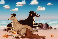A Day by the Sea (patriciavallina-mackie) Tags: greyhoundart whippets sighthounds dandelion clocks greayhounds galgos whippet valentine starrynight hare hounds balloons beach sea saluki snow borzois dogs foxes hares forest