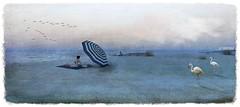 NorderNey_beach (La Baroque (Laura) ️♡thnx for your visits️) Tags: umbrella woman beach sand blue flamingo sea water girl norderney secondlife birds
