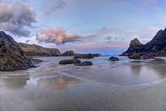 Can you please crawl out your window (pauldunn52) Tags: kynance cove lizard sunset pink blue sea sand reflections stacks