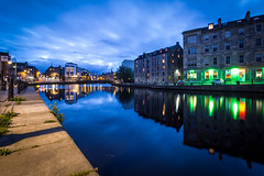 The Shore, Leith, Edinburgh (calumccampbell) Tags: shore leith edinburgh night midnight blue bluehour hour long exposure longexposure evening water river reflection reflections sky wide angle wideangle canon 1018 1018mm green harbour waterfront
