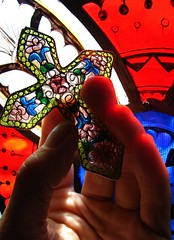 Put your hand in the hand... (Rand Luv'n Life) Tags: odc our daily plique a jour enameled cross filigree stain glass window natural sunlight reflection savior peace love understanding easter resurection