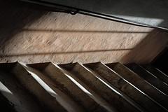 Light fall (PWM8128) (Pieter Berkhout) Tags: pieterberkhout windowlight lightfall stairs moutiers clairobsure chiaroscura lichtdonker trap schaduw lichtval trapleuning guardrail banisters sunlight
