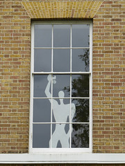 Hello.... (Gilder Kate) Tags: sculpture statue window thegreen richmonduponthames richmond surrey london windowart panasoniclumixdmctz70 panasoniclumix panasonic lumix dmctz70 tz70