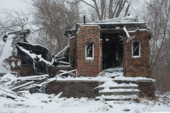 Burned Out House. Detroit, March 2017 (adamkmyers) Tags: housefire detroit abandonedhouse oncewashome
