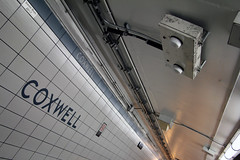 Coxwell Station has free wifi (Canadian Pacific) Tags: toronto ontario canada canadian city metro subway station ttc coxwell transit commission tile tiles wifi internet free access aimg6315