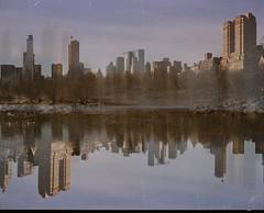 Krap Lartnec. (Julien Prénat) Tags: upsidedown 6x7 analogphotography analog filmphotography film multiexposure doubleexposure nature lake mamiya7ii mamiya reflection park centralpark manhattan nyc newyork ny