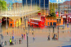 There is no end to illusion (sara biljana (off)) Tags: buses people stop bus traffic buildings street city town illusion colours surreal sky trees cars london uk doubledecker